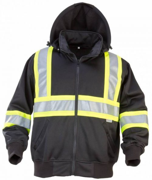 POLY/COTTON JACKET WITH YELLOW CONTRASTING REFLECTIVE MATERIAL