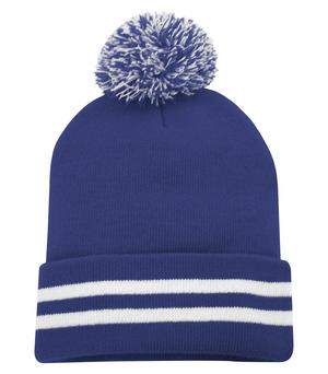 ATC STRIPED CUFF POM POM TOQUE