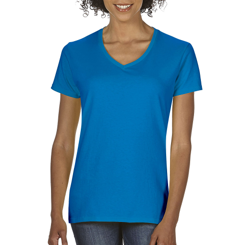 ladies v-neck heavy cotton t-shirt
